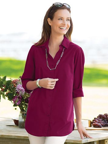 Foxcroft Classic-Fit Y-Neck Tunic - Image 1 of 14