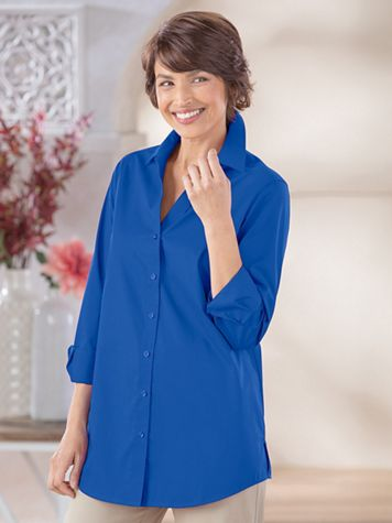 Foxcroft Classic-Fit Y-Neck Tunic - Image 1 of 2