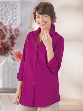 Foxcroft Classic-Fit Y-Neck Tunic