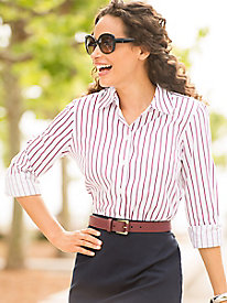 1940s Blouses and Tops Striped Perfect-Fit Shirt $54.99 AT vintagedancer.com