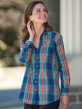 Foxcroft for Appleseed's Navy Tartan Tunic
