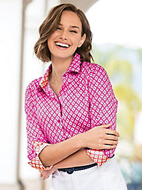 Foxcroft for Appleseed's Ikat-Print Shirt