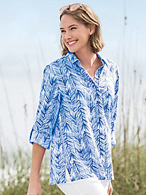 Leaf-Print Crinkle Button Up Shirt