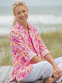 Bali Print Crinkle Button Up Shirt