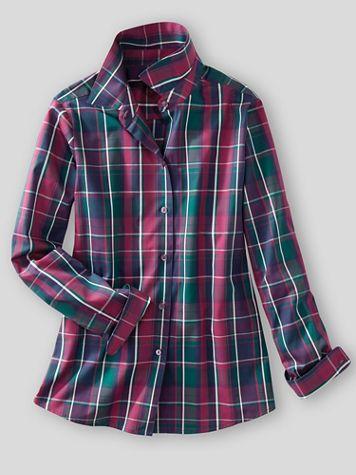 Foxcroft® Aspen Plaid Wrinkle-Free Long-Sleeve Shirt - Image 1 of 5