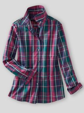 Foxcroft® Aspen Plaid Wrinkle-Free Long-Sleeve Shirt