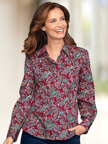 Foxcroft Red Paisley Shirt - Image 1 of 3