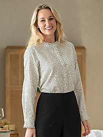 Foxcroft Ruffled Dot Shirt