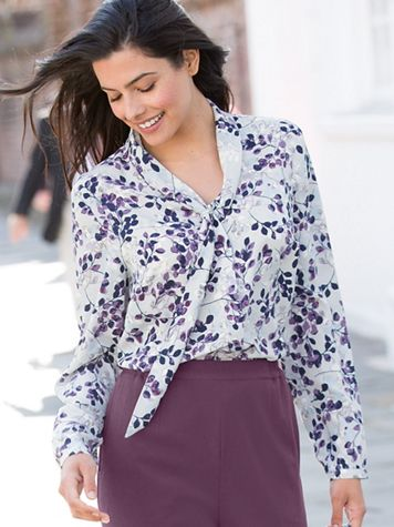 Silky Scrolling Leaf Blouse - Image 3 of 3