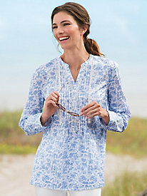 Pintuck Floral Tunic
