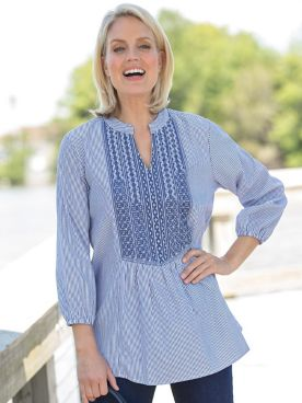 Embroidered Stripe Tunic