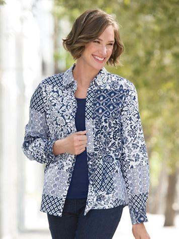Foxcroft Indigo Patch Print Shirt - Image 1 of 3