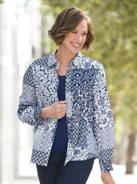 Foxcroft Indigo Patch Print Shirt