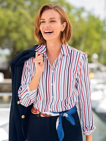Foxcroft Nautical Stripe Shirt - Image 1 of 3