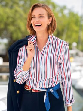 Foxcroft Nautical Stripe Shirt