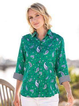 Foxcroft for Appleseeds Paisley Print Shirt