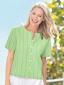 Seersucker Stripe Button Front Top