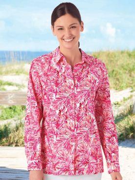 Tropical Fern Crinkle Shirt