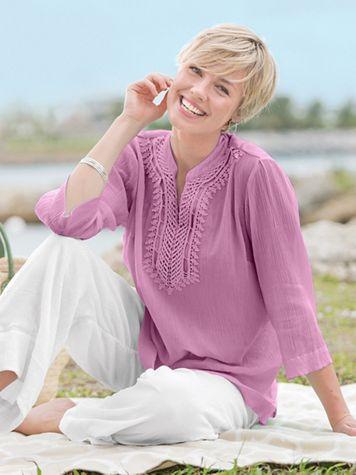 Easy Breezy Crochet Trim Tunic - Image 1 of 3