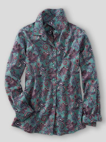 Foxcroft® Paisley Floral No-Iron Cotton Long-Sleeve Shirt
