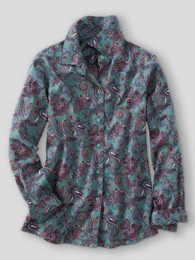 Foxcroft® Paisley Floral No-Iron Cotton Long-Sleeve Shirt
