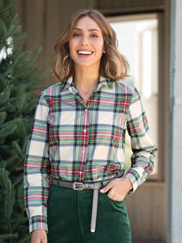 Foxcroft® Ivory Stewart Plaid Shirt - Image 5 of 5