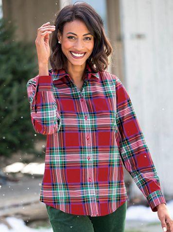 Foxcroft® Red Stewart Plaid Shirt - Image 5 of 5