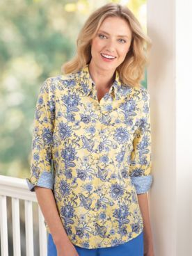 Foxcroft® Provence Floral Wrinkle-Free Shirt