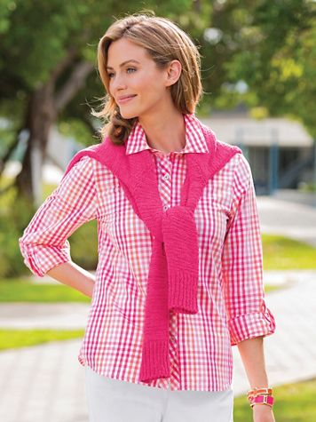 Multi-Color Gingham Cotton Shirt - Image 3 of 3