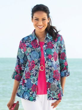 Tropical Lagoon Crinkle Cotton Big Shirt