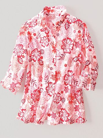 Tropical Lagoon Crinkle Cotton Big Shirt - Image 1 of 1