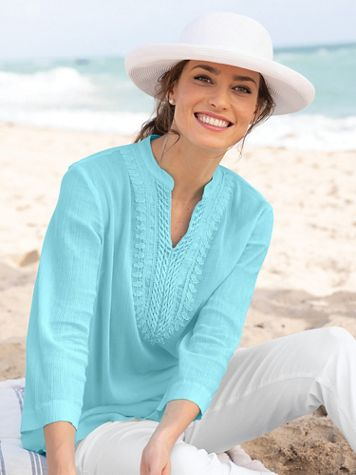 Easy-Breezy Crochet-Trim Tunic - Image 1 of 7