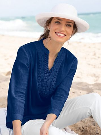 Easy-Breezy Crochet-Trim Tunic - Image 1 of 6