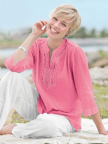 Easy-Breezy Crochet-Trim Tunic - Image 1 of 2