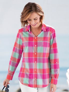 Foxcroft® Sun-Protection Buffalo Plaid Shirt