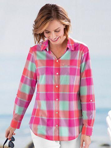 Foxcroft® Sun-Protection Buffalo Plaid Shirt - Image 4 of 4