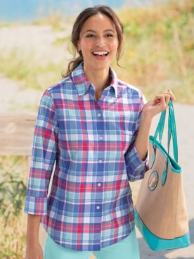 Foxcroft® Portland Plaid Wrinkle-Free Shirt