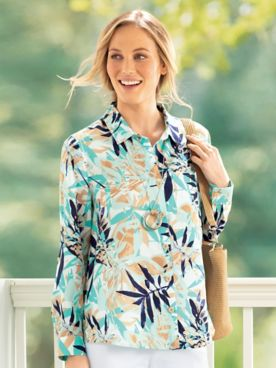 Palm Print High/Low-Hem Tunic
