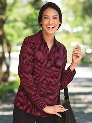 Silky Glen Plaid Long-Sleeve Blouse - Image 1 of 3