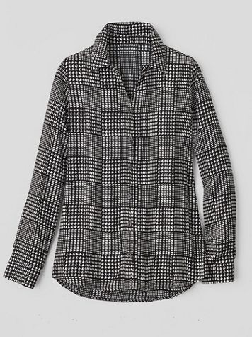 Silky Glen Plaid Long-Sleeve Blouse - Image 1 of 1