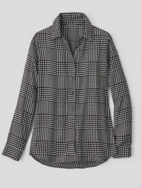 Silky Glen Plaid Long-Sleeve Blouse
