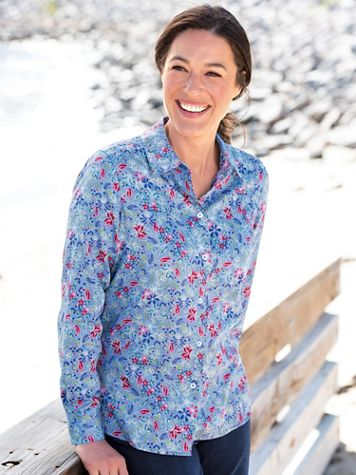 Foxcroft® Wildflower Garden No-Iron Cotton Long-Sleeve Shirt - Image 1 of 3