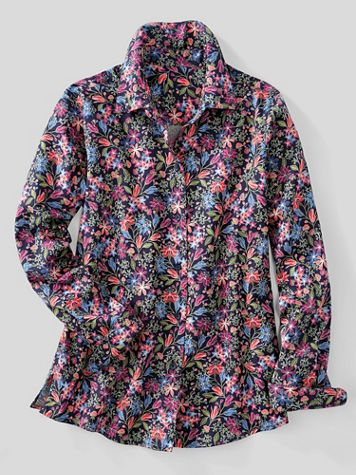 Foxcroft® Wildflower Garden No-Iron Cotton Long-Sleeve Shirt - Image 2 of 2
