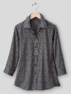 Foxcroft® Shadow Dot No-Iron Cotton Shirt