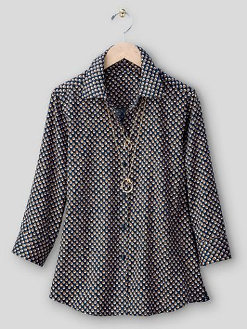 Foxcroft® Shadow Dot No-Iron Cotton Shirt - Image 2 of 2
