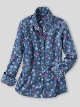 Foxcroft® Botanical Floral No-Iron Cotton Shirt