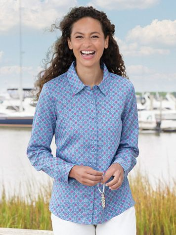 Floral Foulard Long-Sleeve No-Iron Cotton Shirt - Image 1 of 1