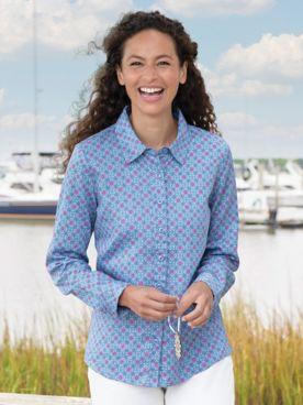 Floral Foulard Long-Sleeve No-Iron Cotton Shirt