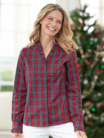 Ruffle-Trim Tartan Shirt - Image 2 of 2