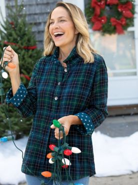 Ruffled-Collar Plaid Tunic
